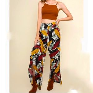 High rise wide leg wrapped tropical pants